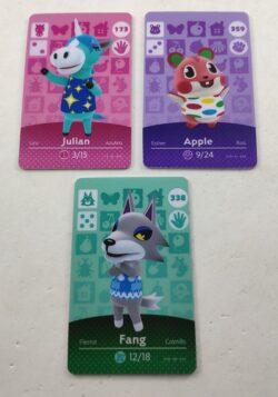 3 x Animal Crossing Amiibo Cards